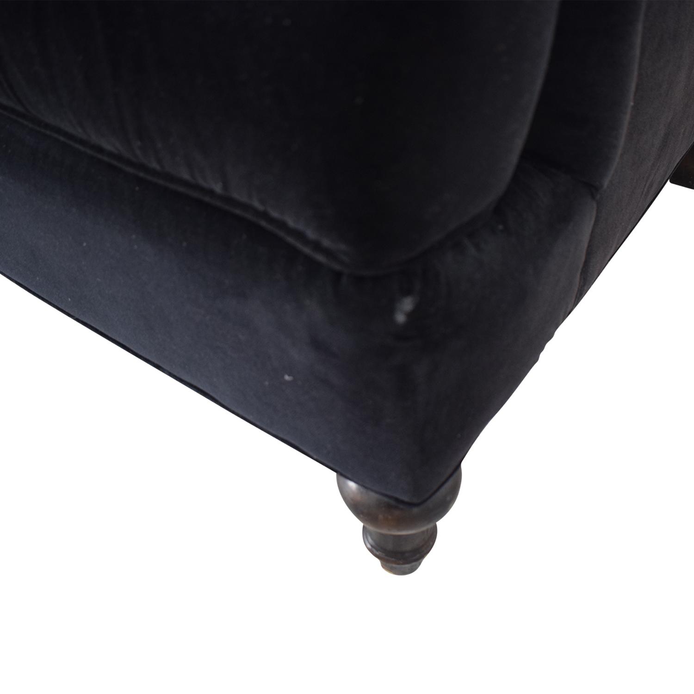 Century Furniture Black Velvet Two-Cushion Sofa / Classic Sofas