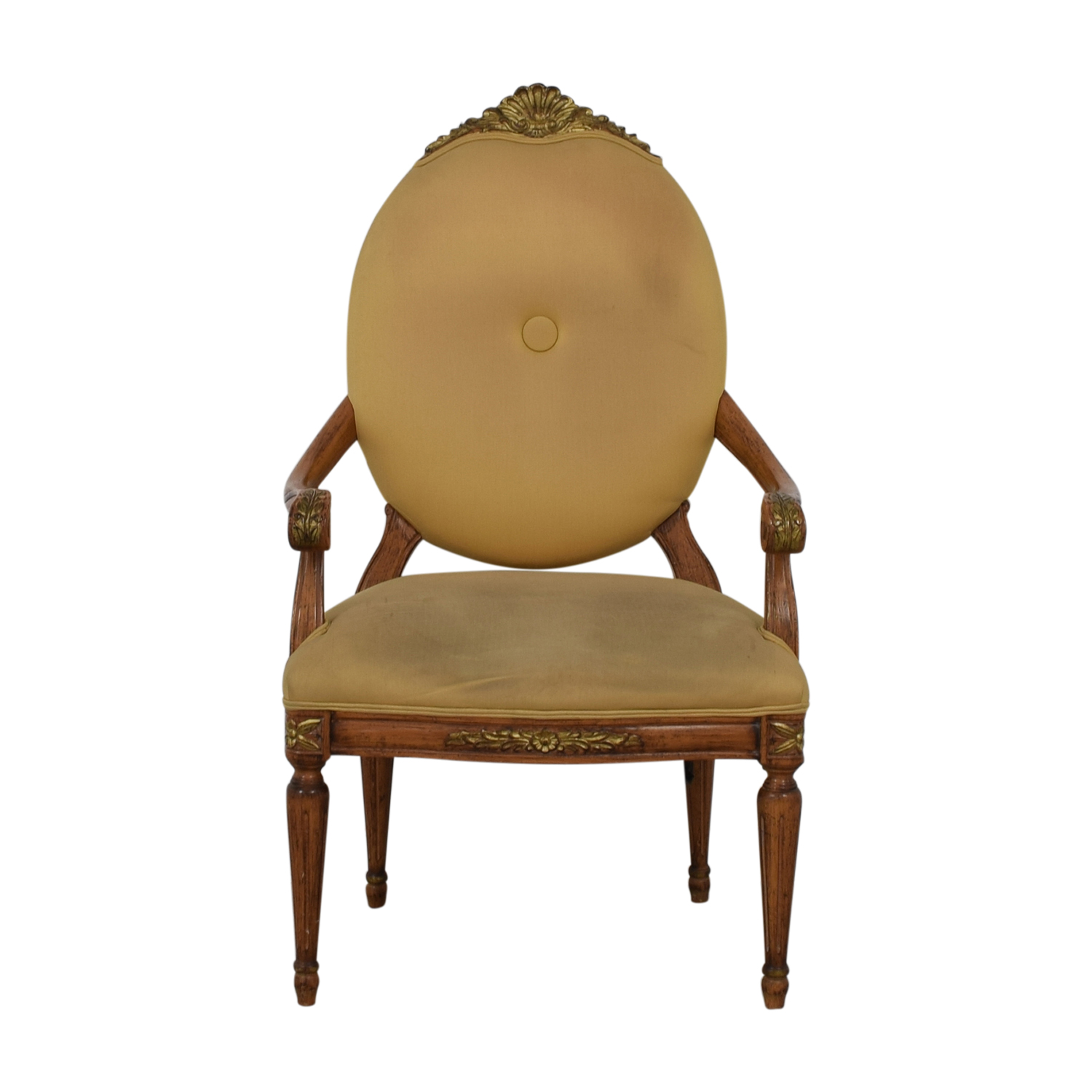 Beige Upholstered Carved Wood Accent Chair