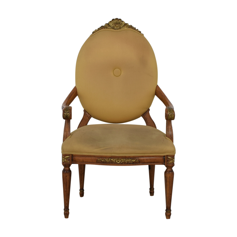 Beige Upholstered Carved Wood Accent Chair for sale