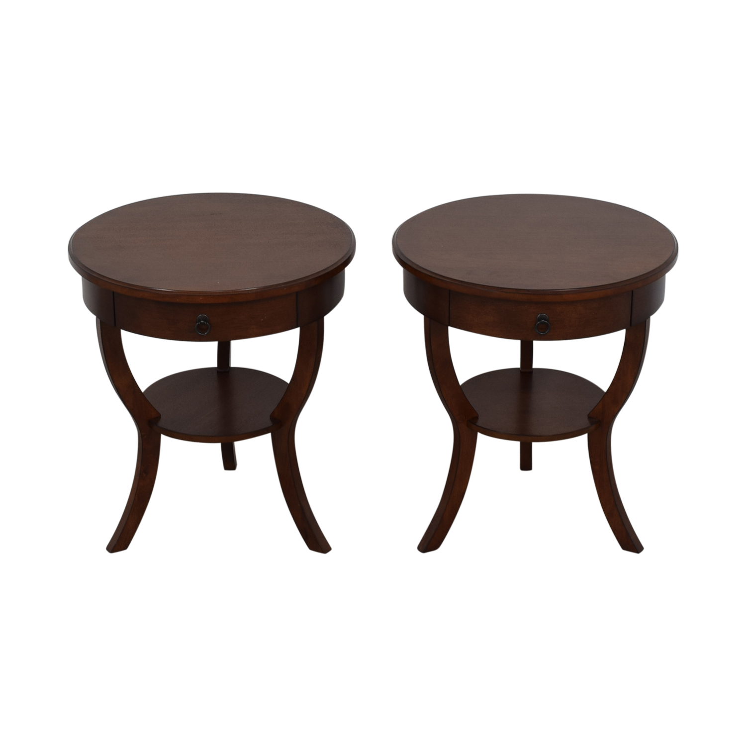 Pottery Barn Pottery Barn Carrie Round Single-Drawer Pedestal End Tables Tables