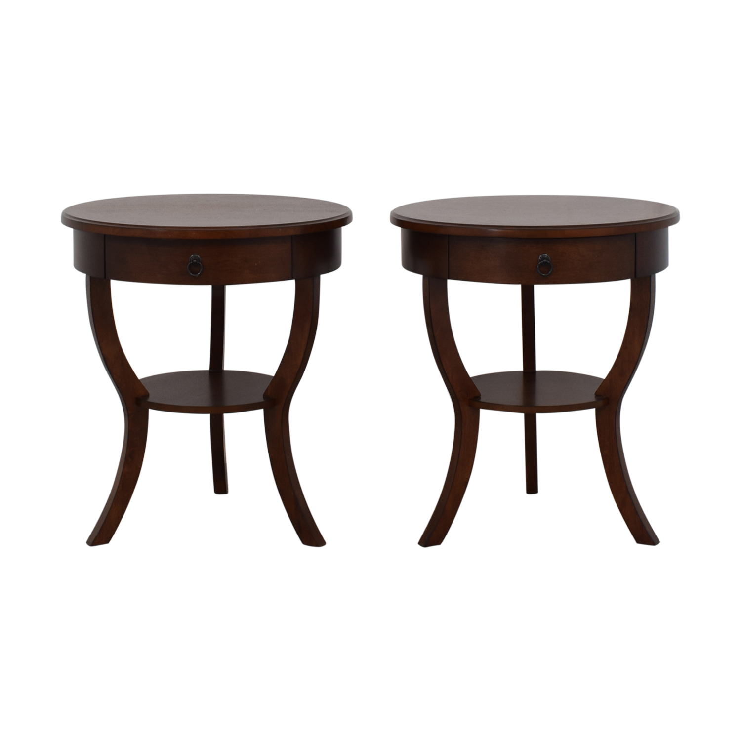 buy Pottery Barn Carrie Round Single-Drawer Pedestal End Tables Pottery Barn