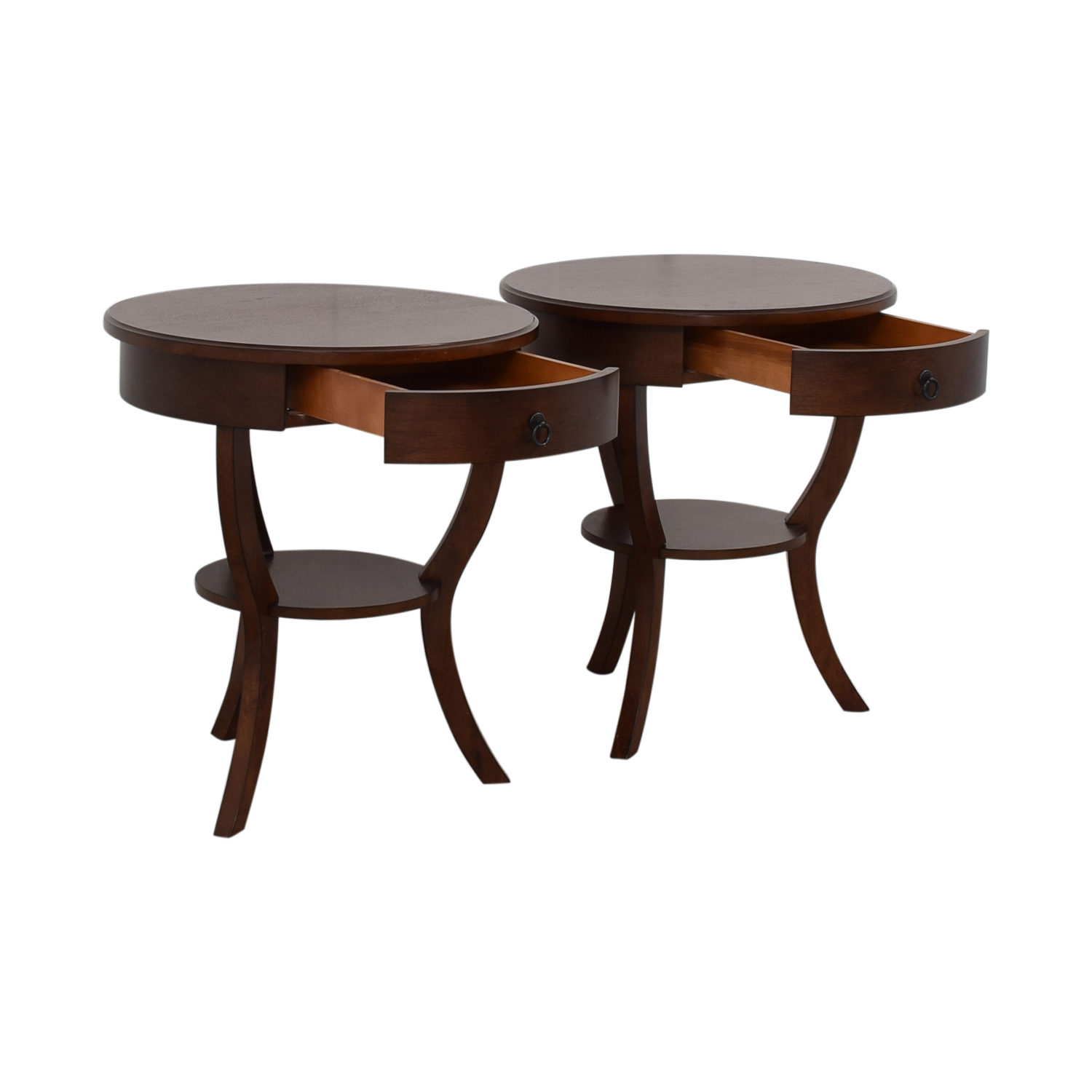 buy Pottery Barn Carrie Round Single-Drawer Pedestal End Tables Pottery Barn Tables