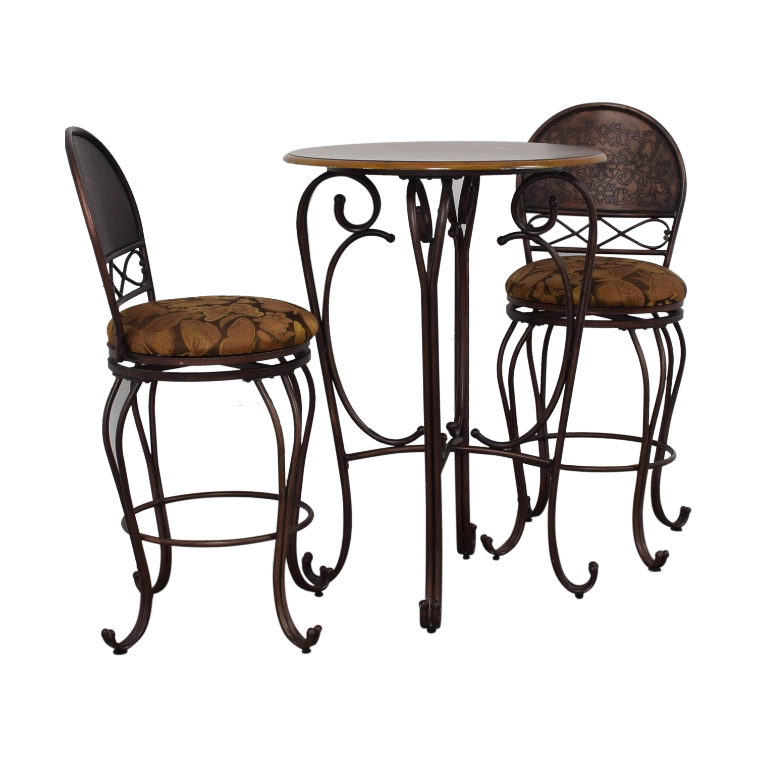 shop Wood and Metal Bistro Pub Table and Stools  Dining Sets
