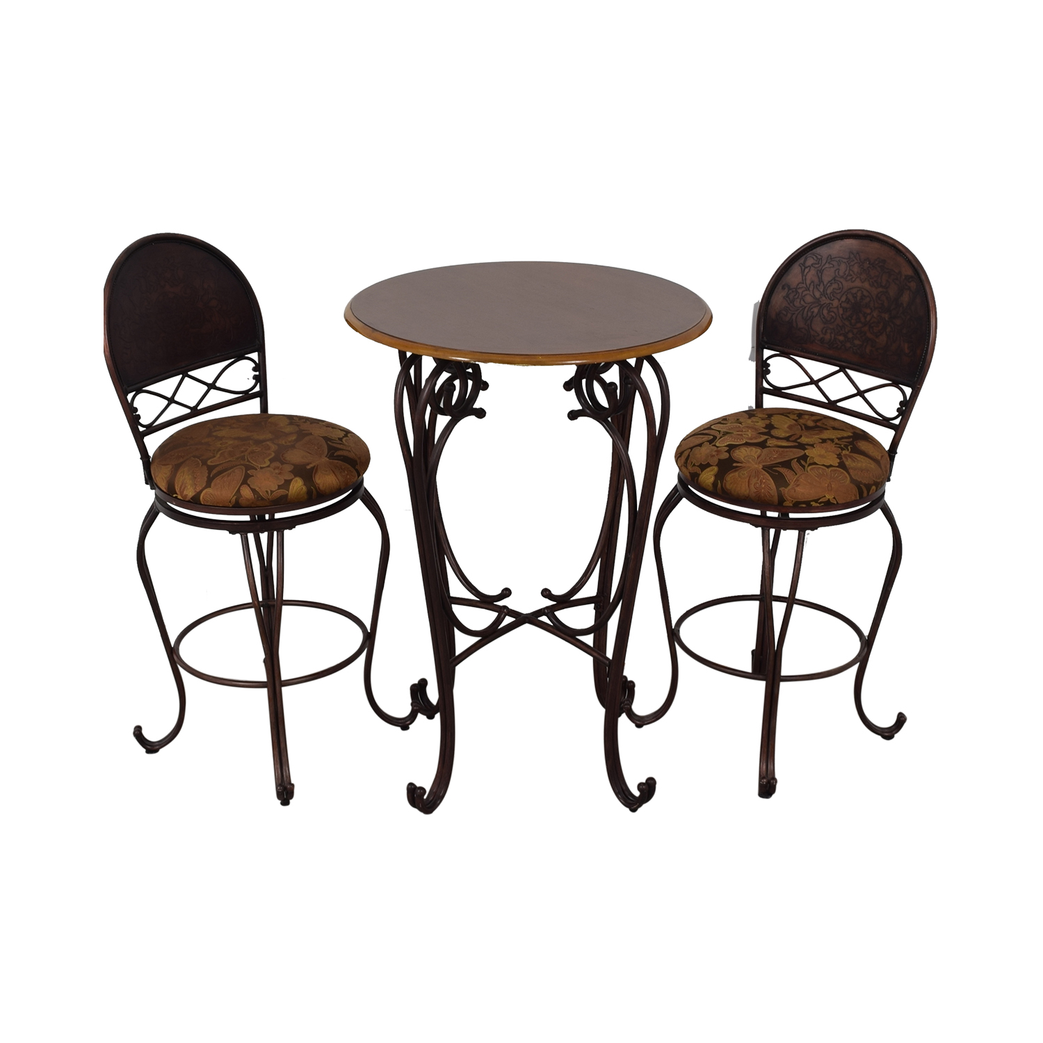 Wood and Metal Bistro Pub Table and Stools for sale