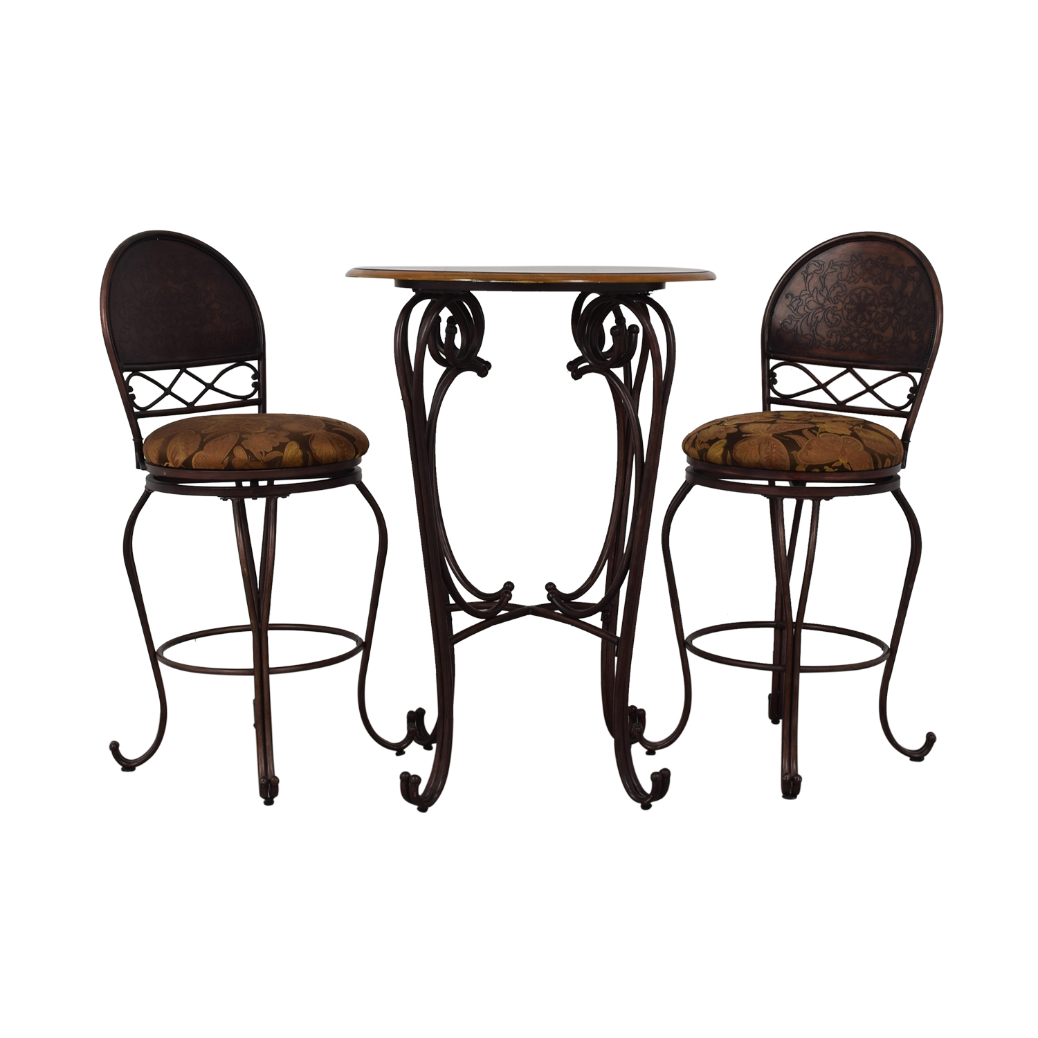 Wood and Metal Bistro Pub Table and Stools used
