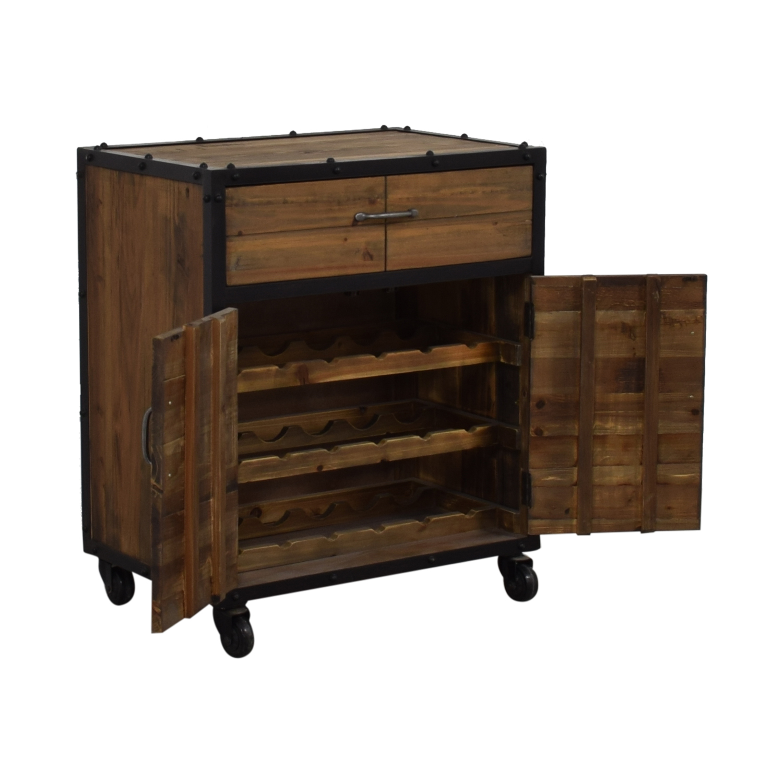 Rustic Single Drawer Wine Cabinet used