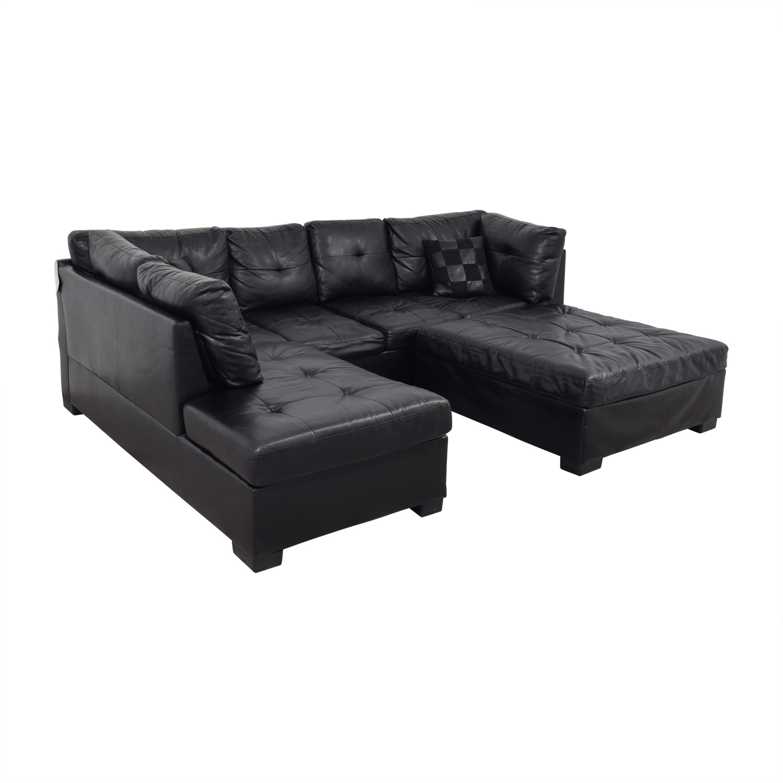 shop Coaster Fine Furniture Black Tufted  Chaise Sectional with Ottoman Coaster Fine Furniture Sofas