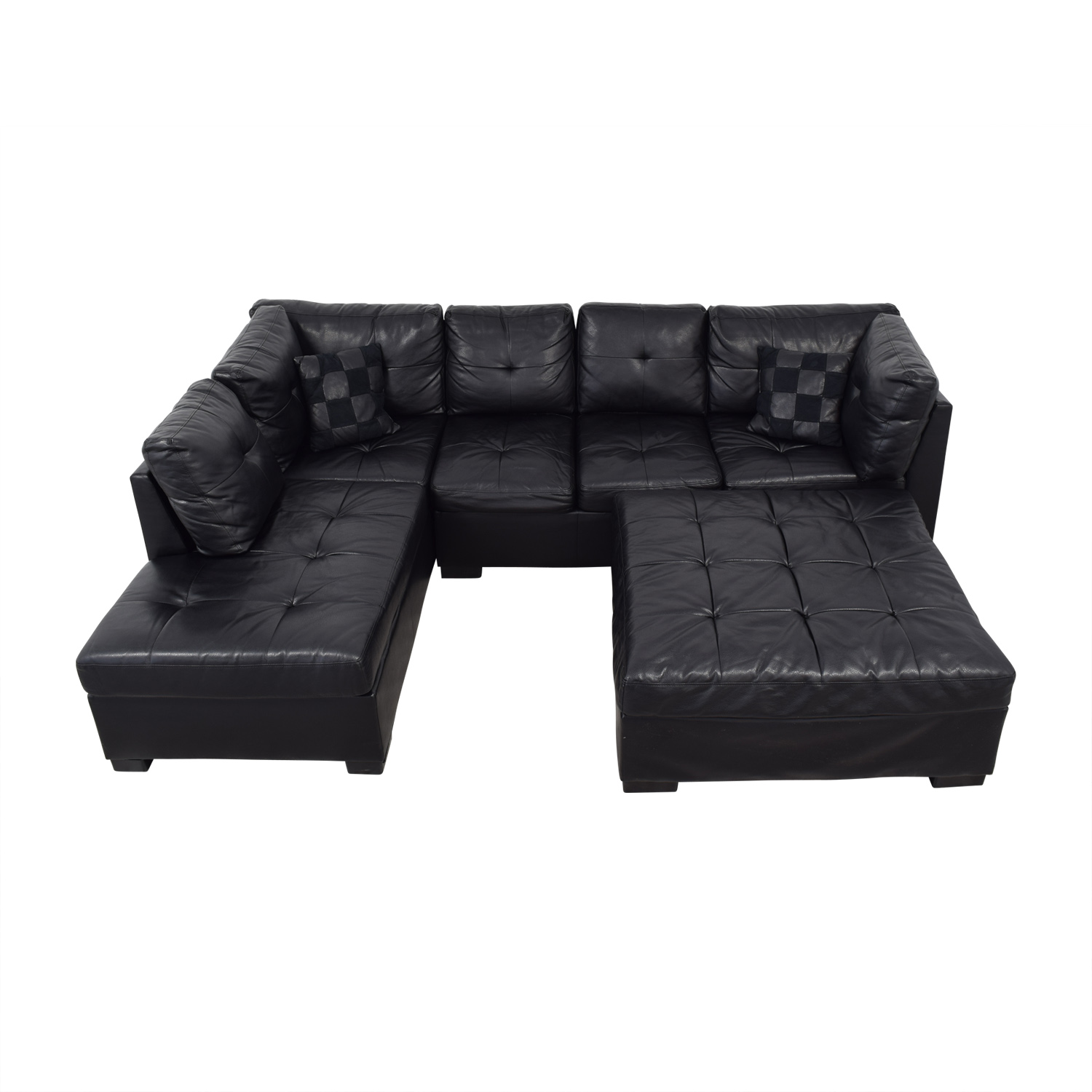 Coaster Fine Furniture Coaster Fine Furniture Black Tufted  Chaise Sectional with Ottoman