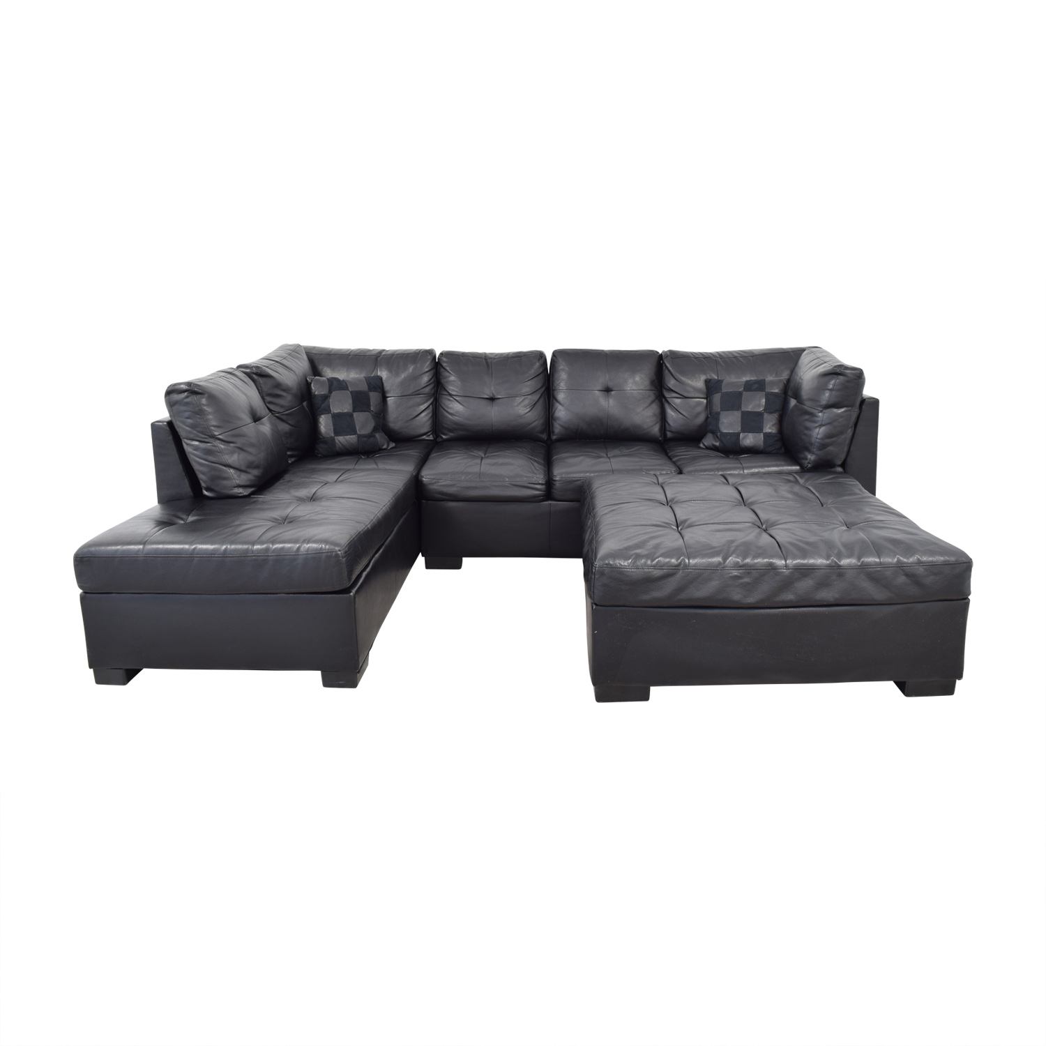 Coaster Fine Furniture Coaster Fine Furniture Black Tufted  Chaise Sectional with Ottoman discount