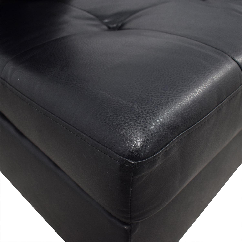 shop Coaster Fine Furniture Black Tufted  Chaise Sectional with Ottoman Coaster Fine Furniture