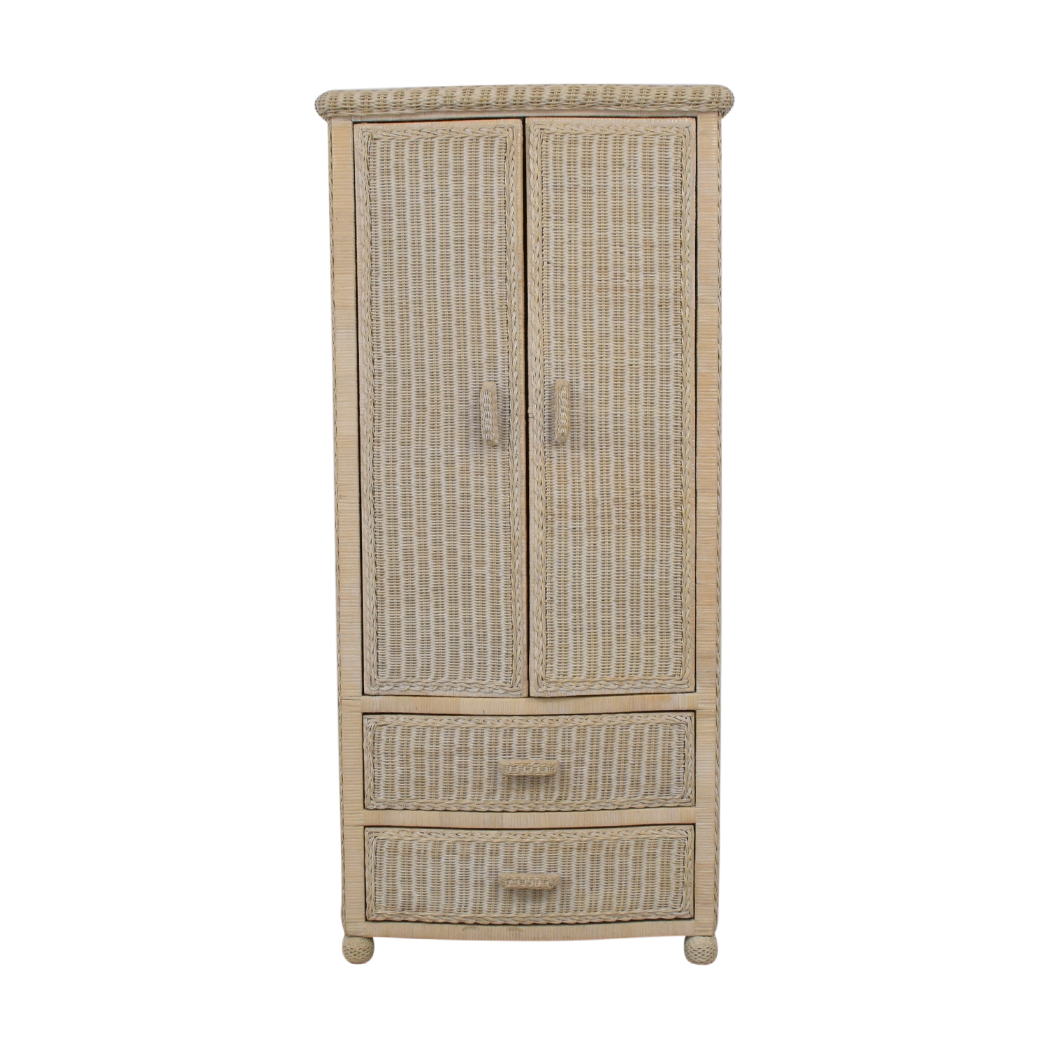 Off-White Wicker Armoire price