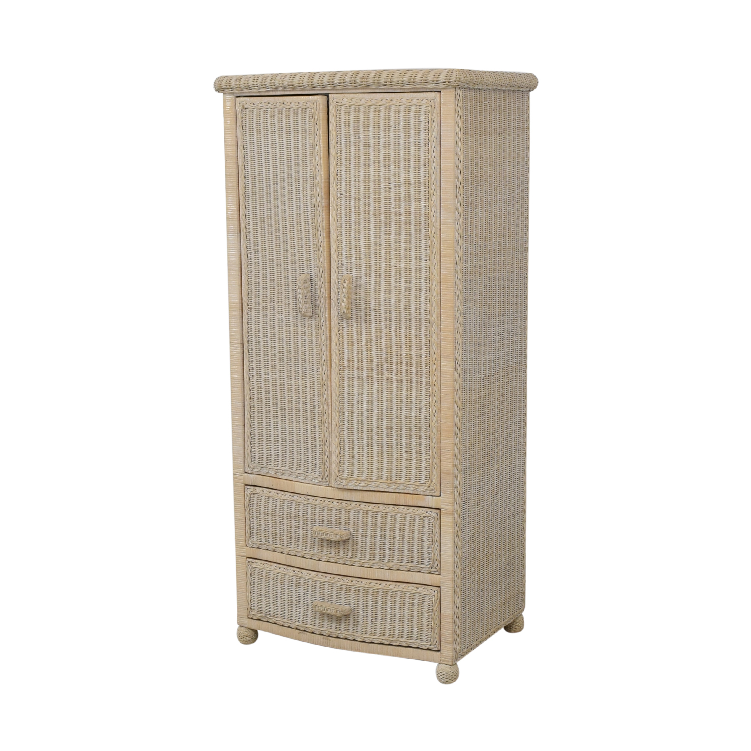 Off-White Wicker Armoire nyc