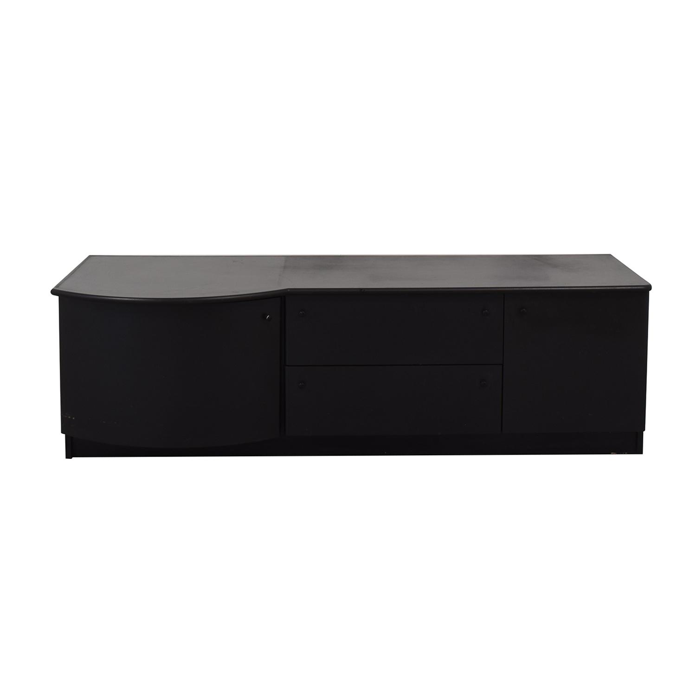 buy Leadra Design Black Two-Drawer Media Cabinet Leadra Design Storage