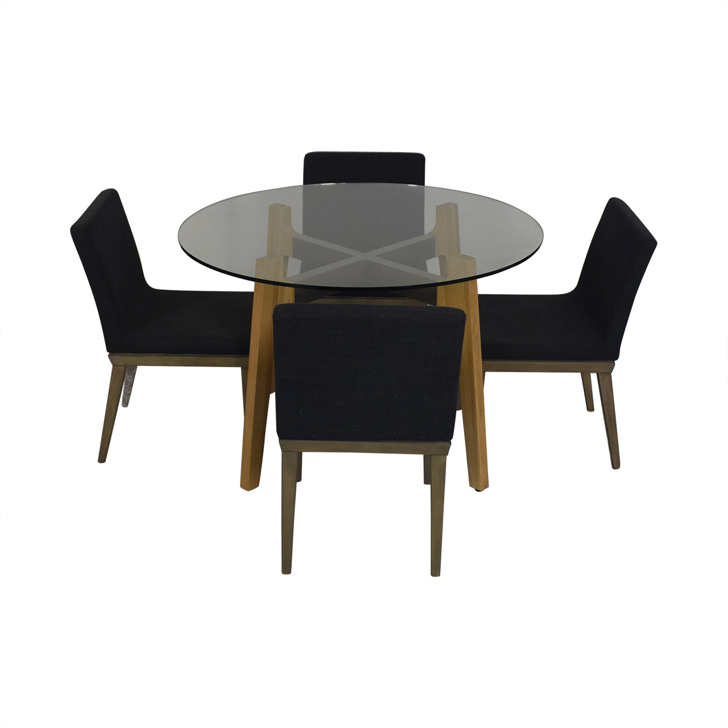 CB2 CB2 Glass Dining Room Table with Four Chairs