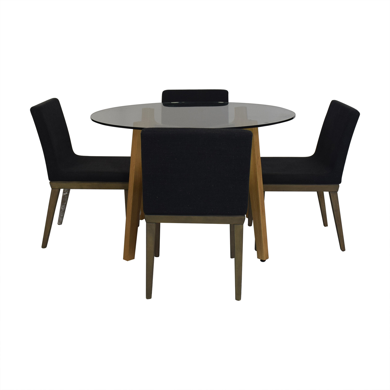 CB2 CB2 Glass Dining Room Table with Four Chairs for sale