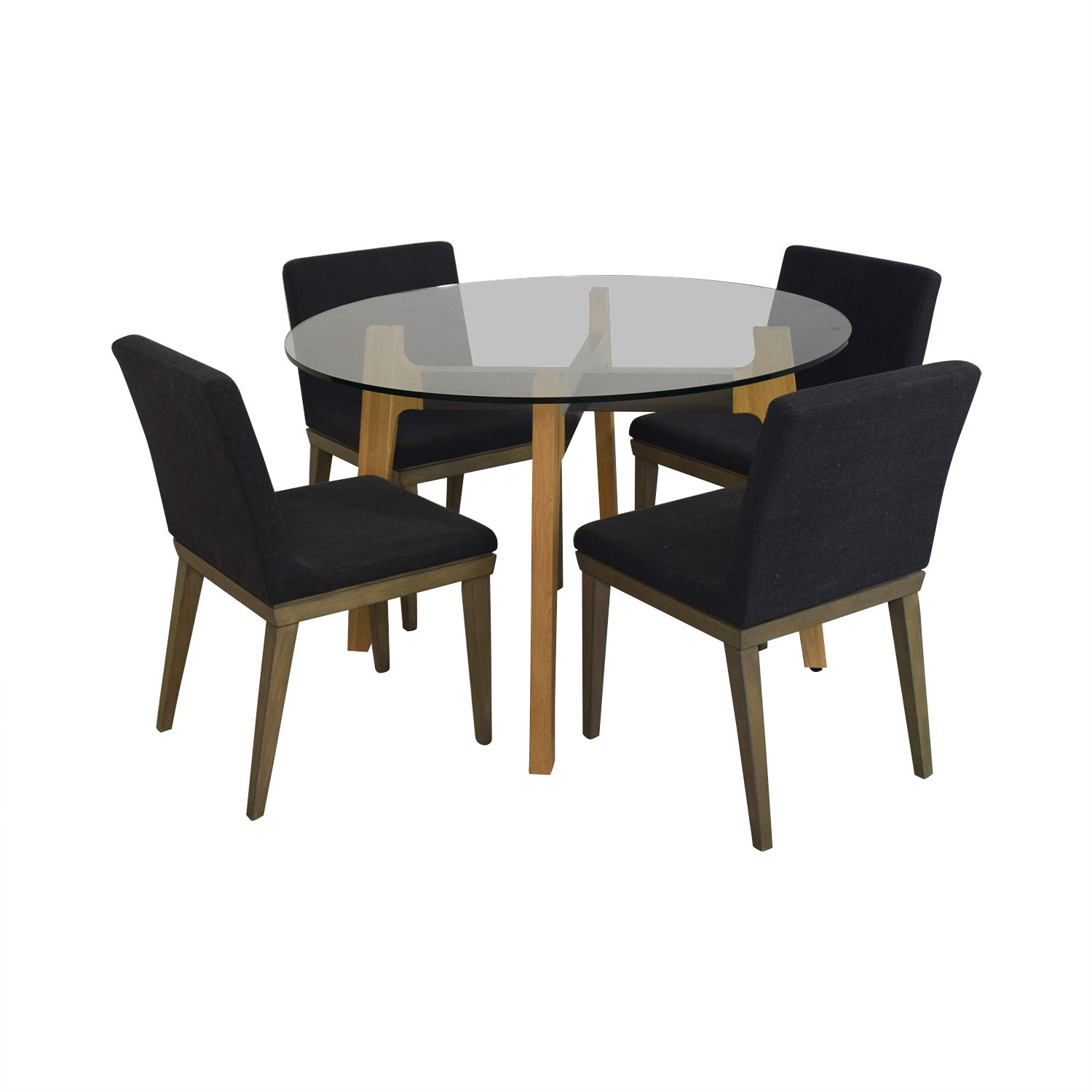 CB2 CB2 Glass Dining Room Table with Four Chairs Presidential Blue