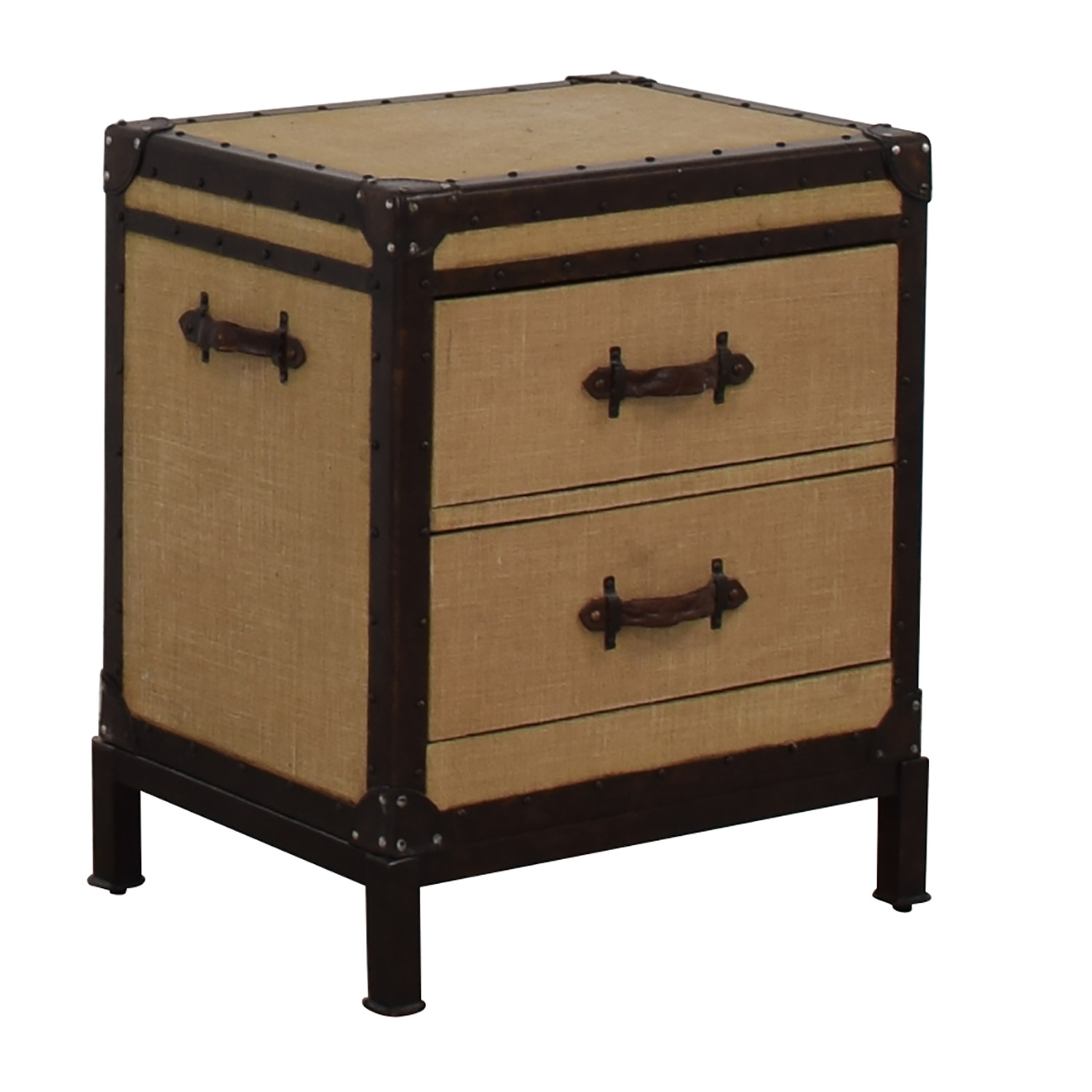 huge selection of 6e622 396e3 77% OFF - Pottery Barn Pottery Barn Redford Tan Two-Drawer Trunk Nightstand  / Tables