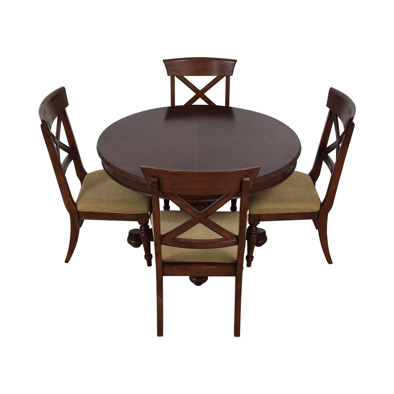 Macy's Pedestal Round Expandable Dining Set sale