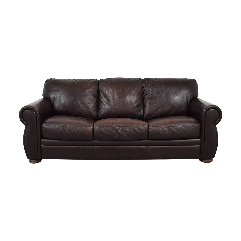 Raymour & Flanigan Brown Three-Cushion Convertible / Sofas