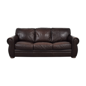 buy Raymour & Flanigan Brown Three-Cushion Convertible Raymour & Flanigan Sofas