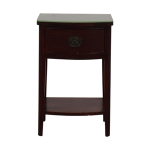 Vintage Single Drawer Glass Top End Table discount