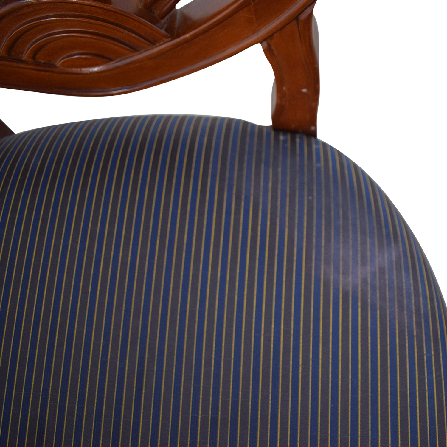 Blue Striped Upholstered Cherry Wood Accent Chairs cherry wood and stripped cushion