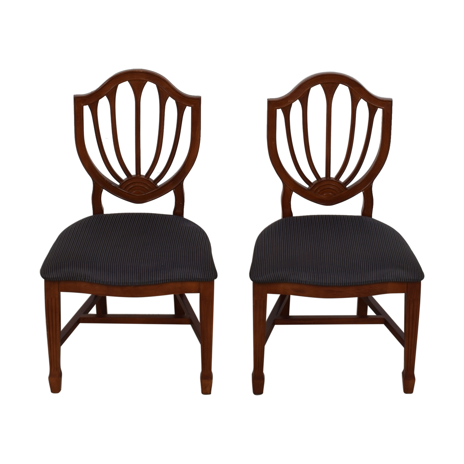 Blue Striped Upholstered Cherry Wood Accent Chairs