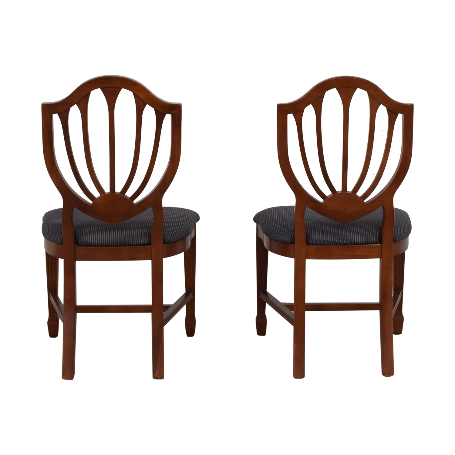 Blue Striped Upholstered Cherry Wood Accent Chairs / Chairs