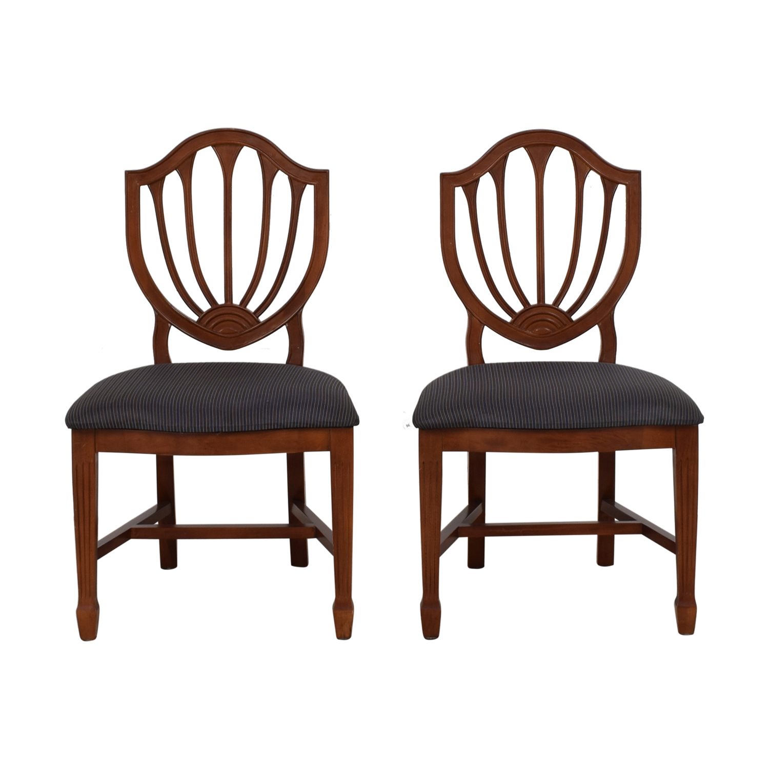 Blue Striped Upholstered Cherry Wood Accent Chairs sale