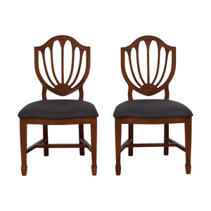 Blue Striped Upholstered Cherry Wood Accent Chairs for sale