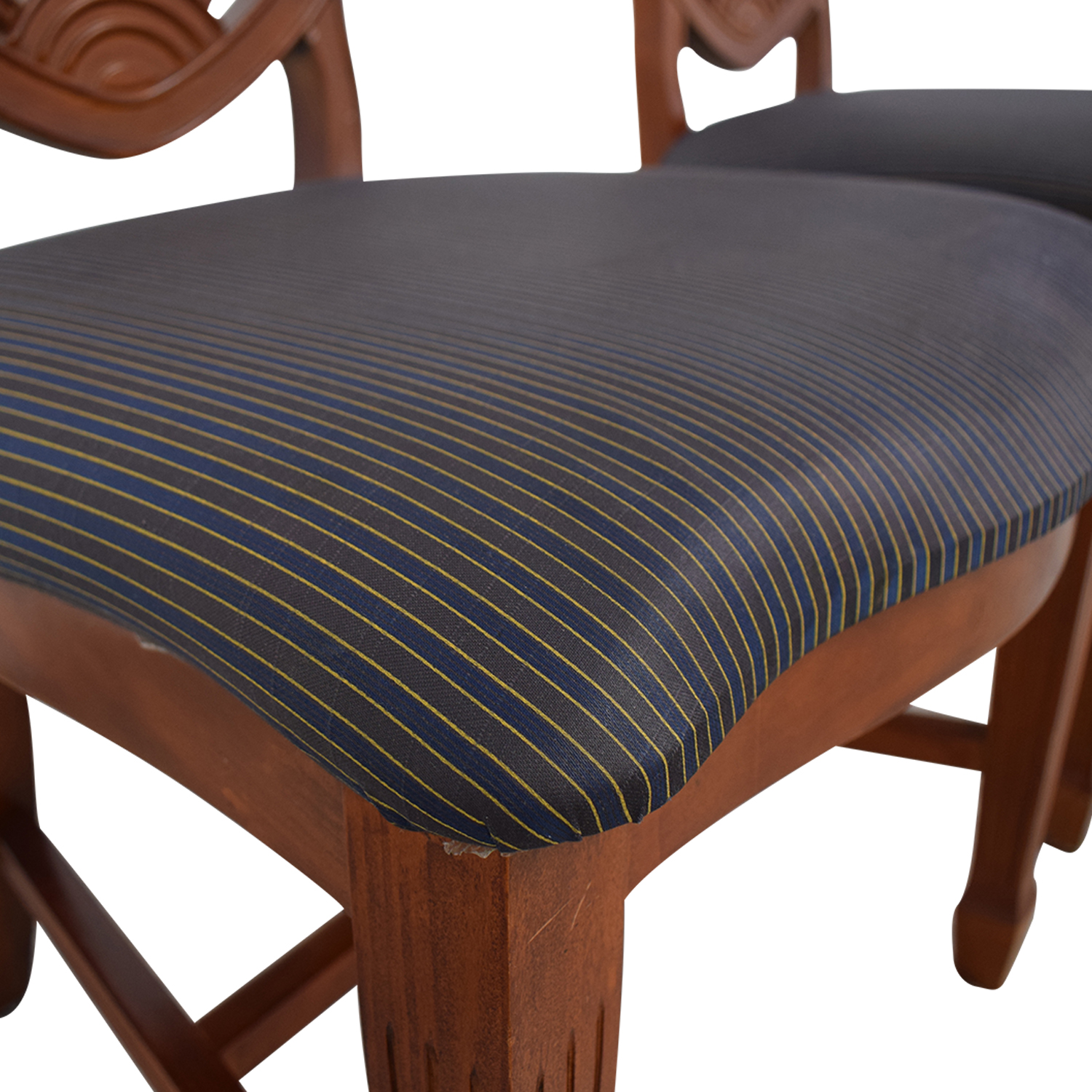 buy Blue Striped Upholstered Cherry Wood Accent Chairs  Chairs