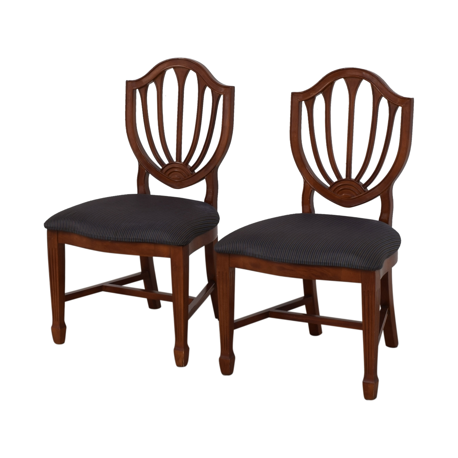 Blue Striped Upholstered Cherry Wood Accent Chairs second hand