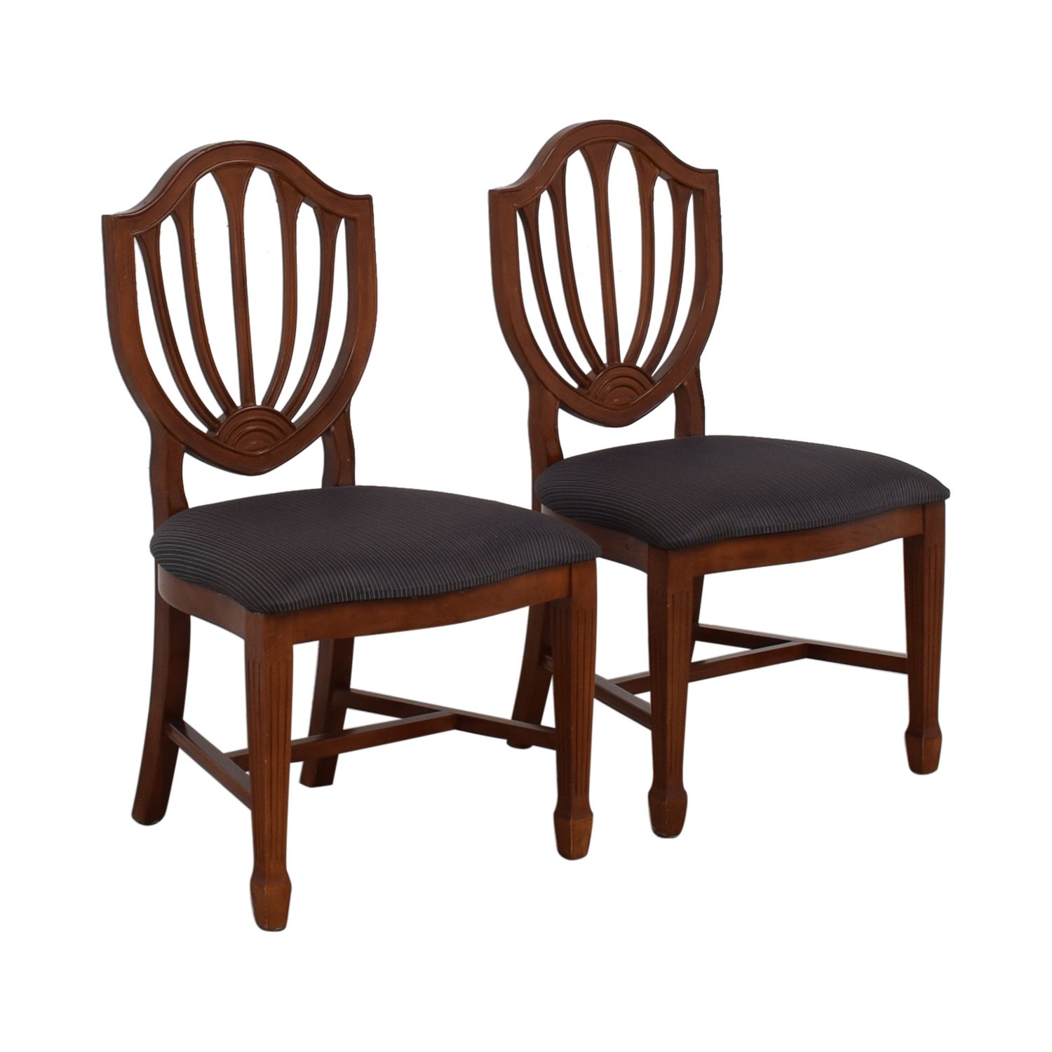 Blue Striped Upholstered Cherry Wood Accent Chairs discount