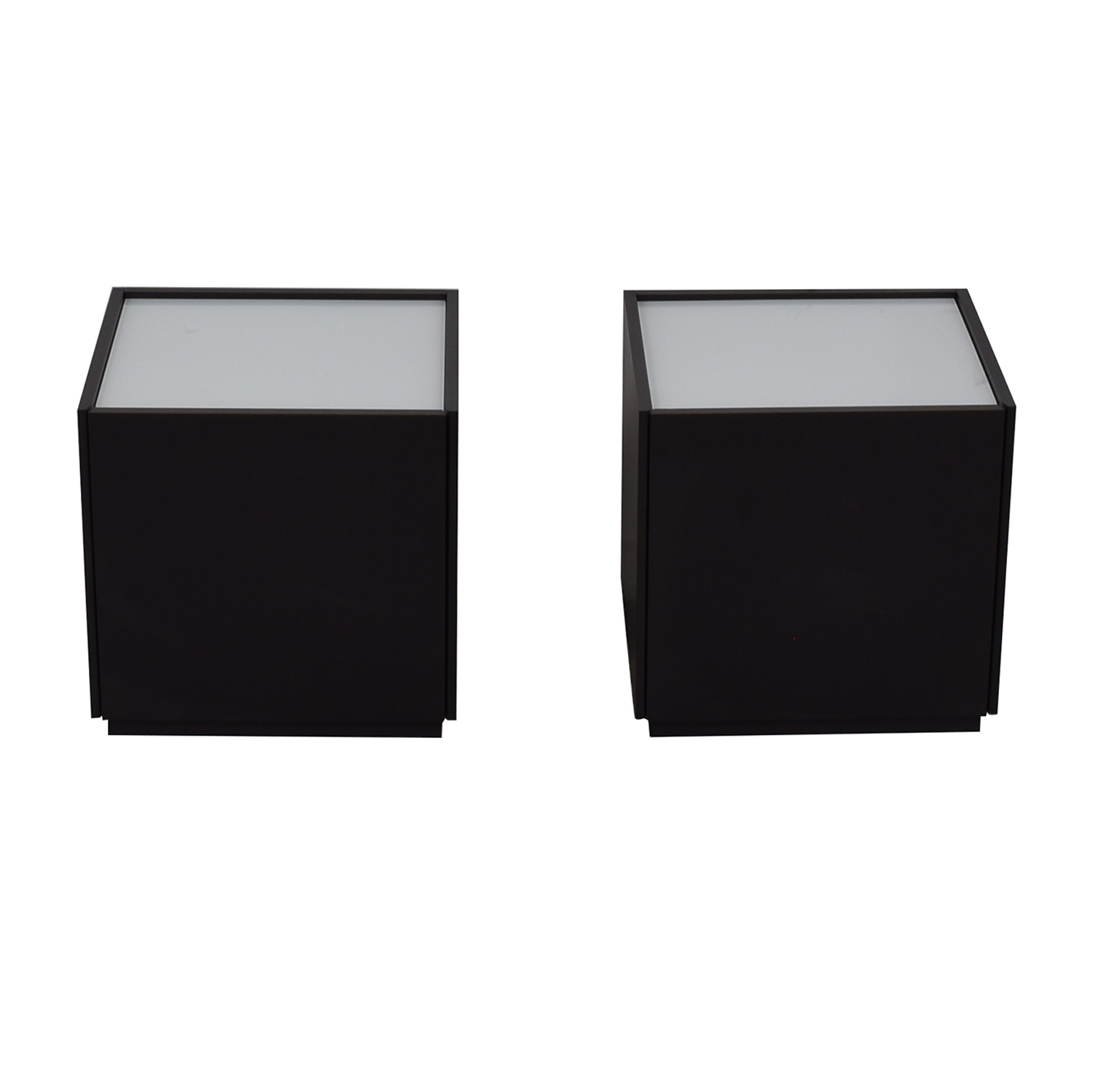 IKEA IKEA White and Black Two-Drawer End Tables used