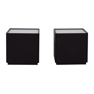 IKEA IKEA White and Black Two-Drawer End Tables discount