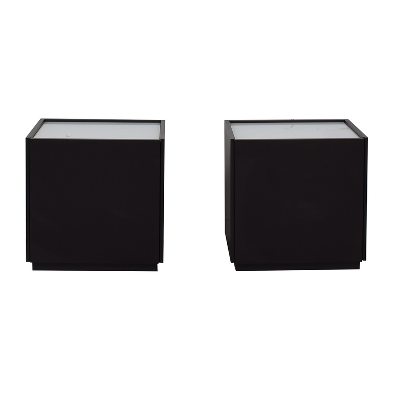 IKEA IKEA White and Black Two-Drawer End Tables second hand