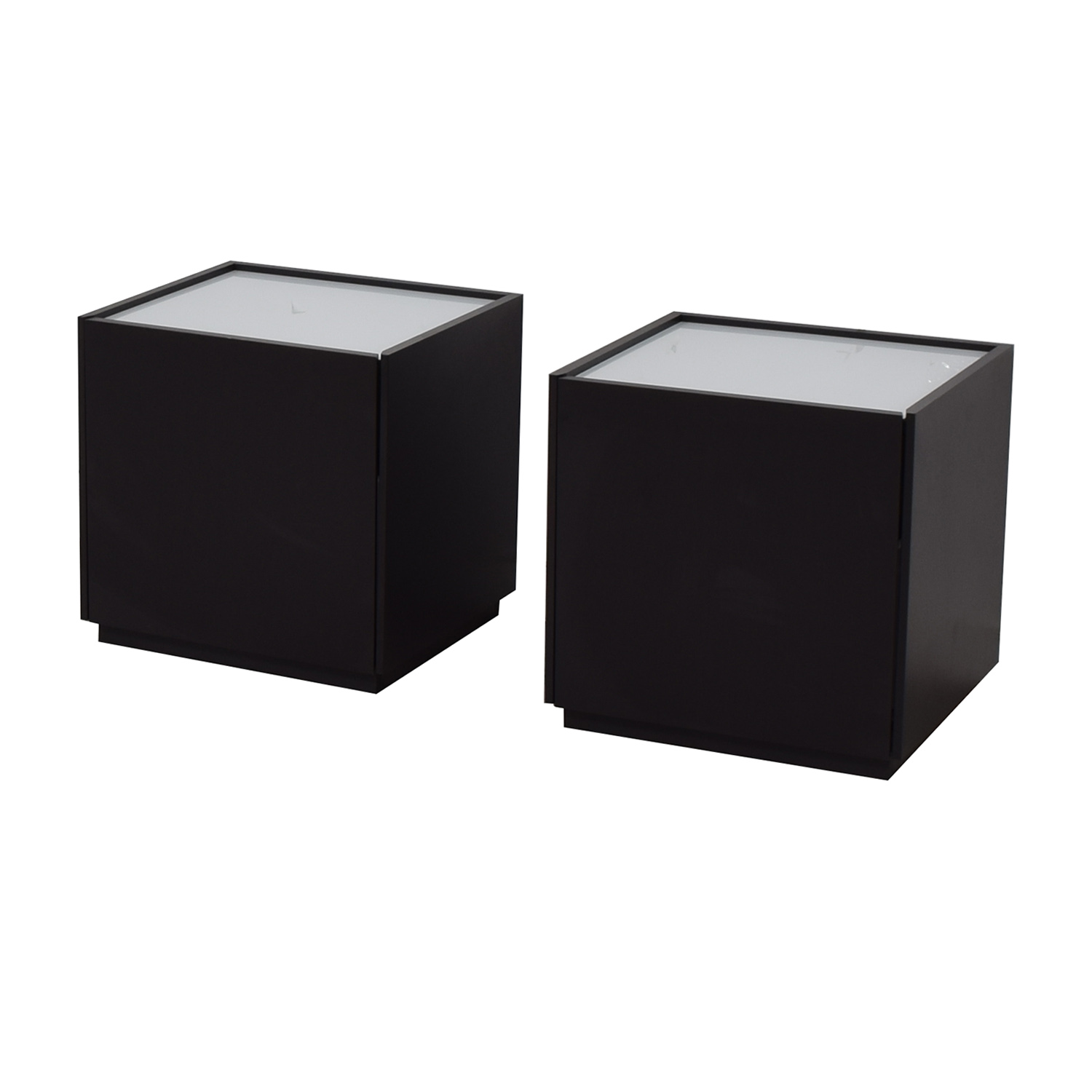 IKEA White and Black Two-Drawer End Tables / End Tables