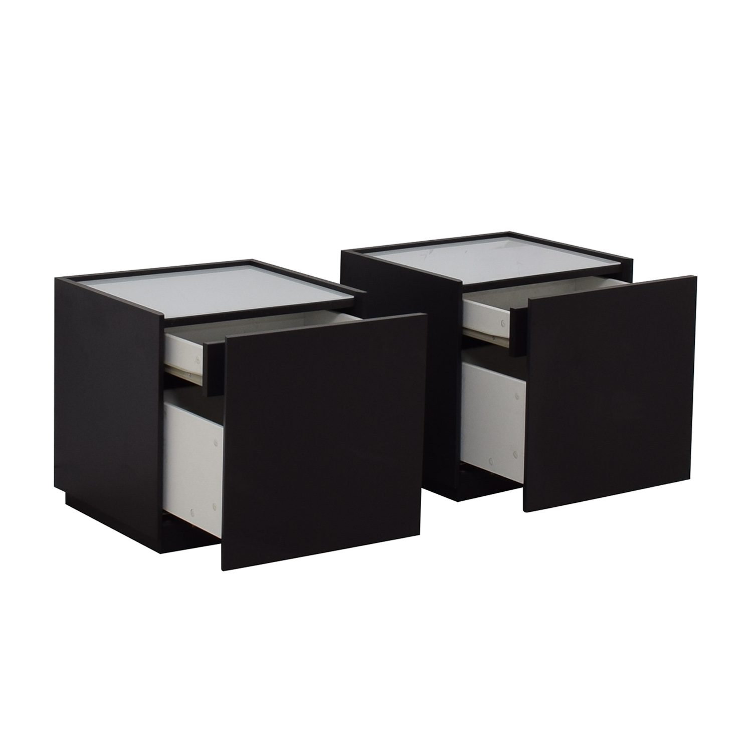 IKEA White and Black Two-Drawer End Tables IKEA