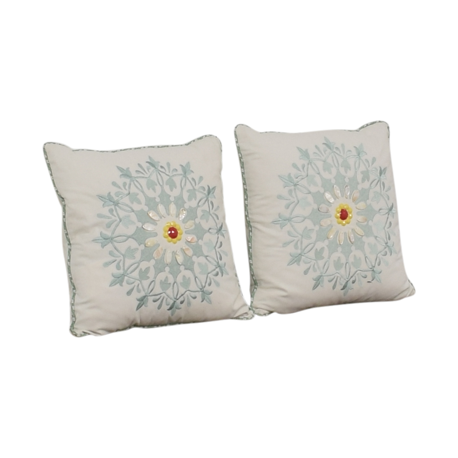 Macy's White and Blue Floral Accent Pillows / Decor