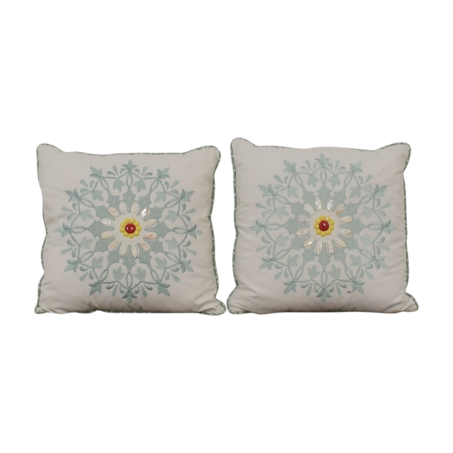Macy's Macy's White and Blue Floral Accent Pillows second hand