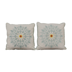 shop Macy's White and Blue Floral Accent Pillows Macy's