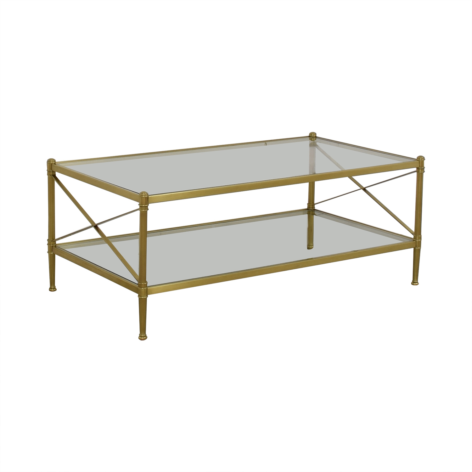 buy Restoration Hardware Glass and Gold Chrome Coffee Table Restoration Hardware Coffee Tables