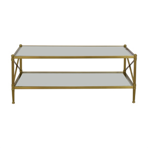 Restoration Hardware Glass and Gold Chrome Coffee Table sale