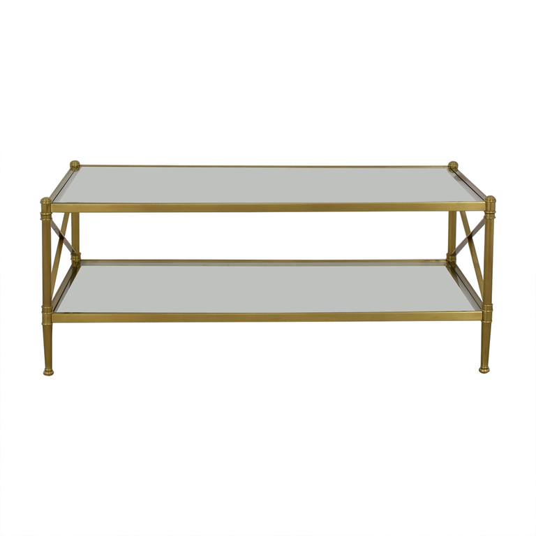 Restoration Hardware Restoration Hardware Glass and Gold Chrome Coffee Table on sale