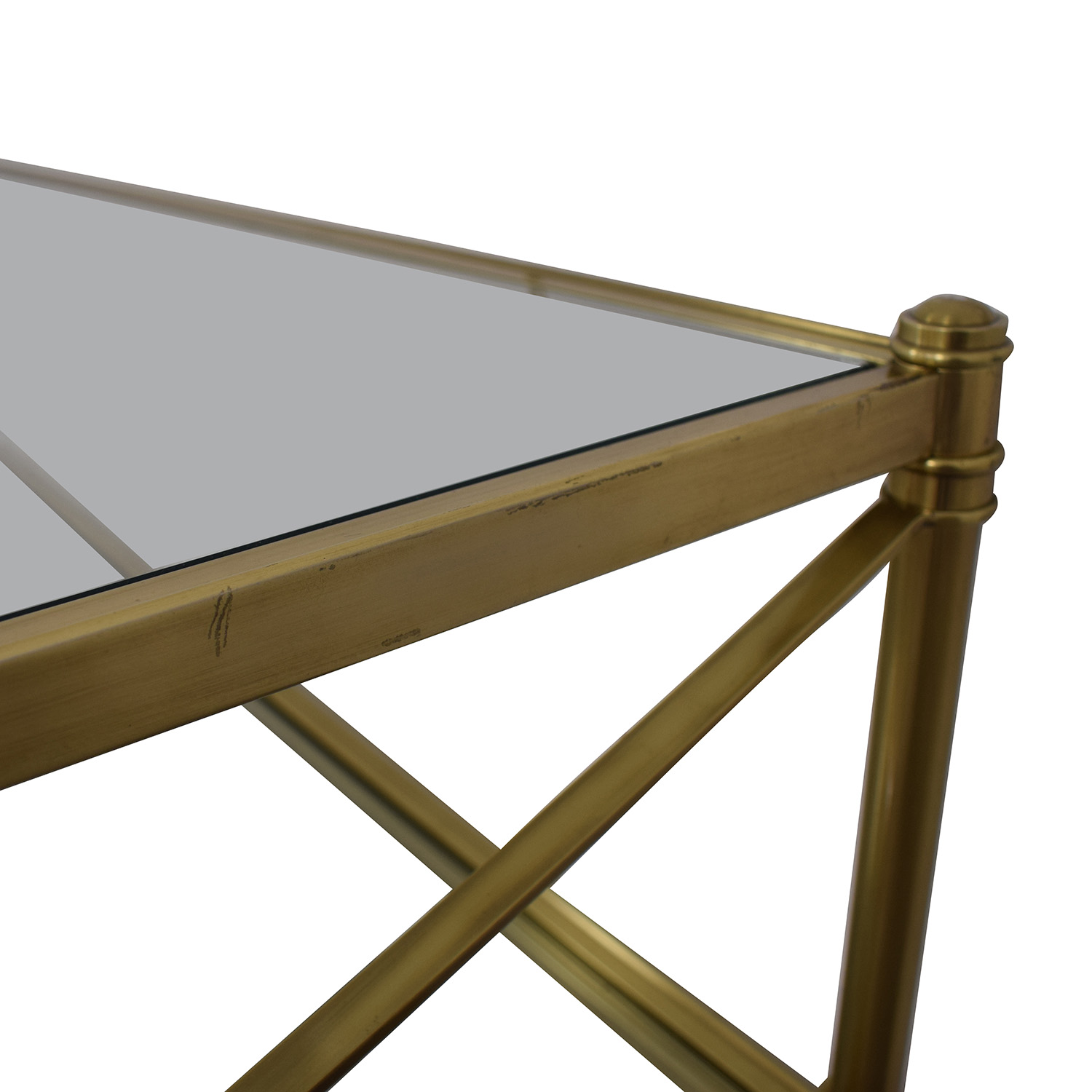 Restoration Hardware Glass and Gold Chrome Coffee Table / Coffee Tables