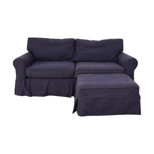Raymour & Flanigan Blue Couch with Ottoman sale