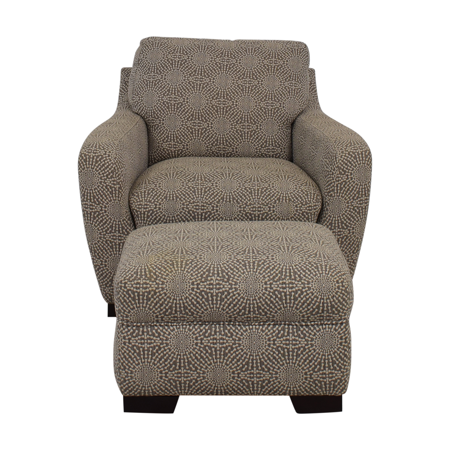 Raymour & Flanigan Raymour & Flanigan Beige and Brown Accent Chair and Ottoman used