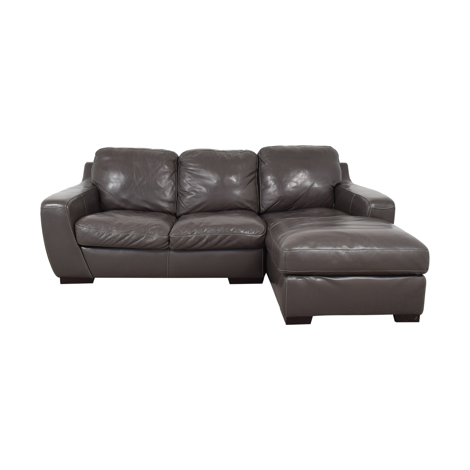 Raymour & Flanigan Stone Chaise Sectional Raymour & Flanigan