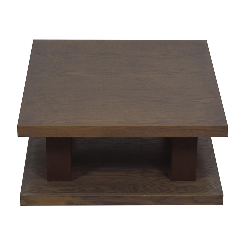 aspenhome aspenhome Grey Driftwood Square Coffee Table On Wheels