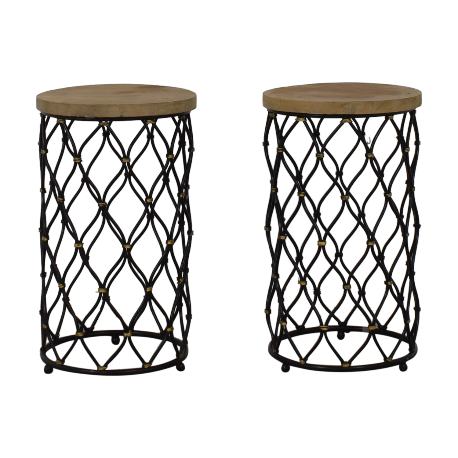 Coast to Coast Imports Coast to Coast Imports Lattice Round Wood and Metal Stools Tables